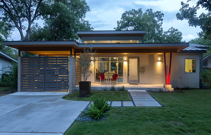 white and red modern home in rosedale austin