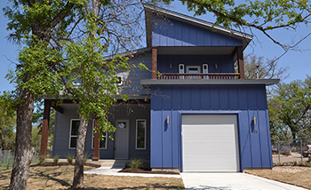 blue modern home for sale in austin