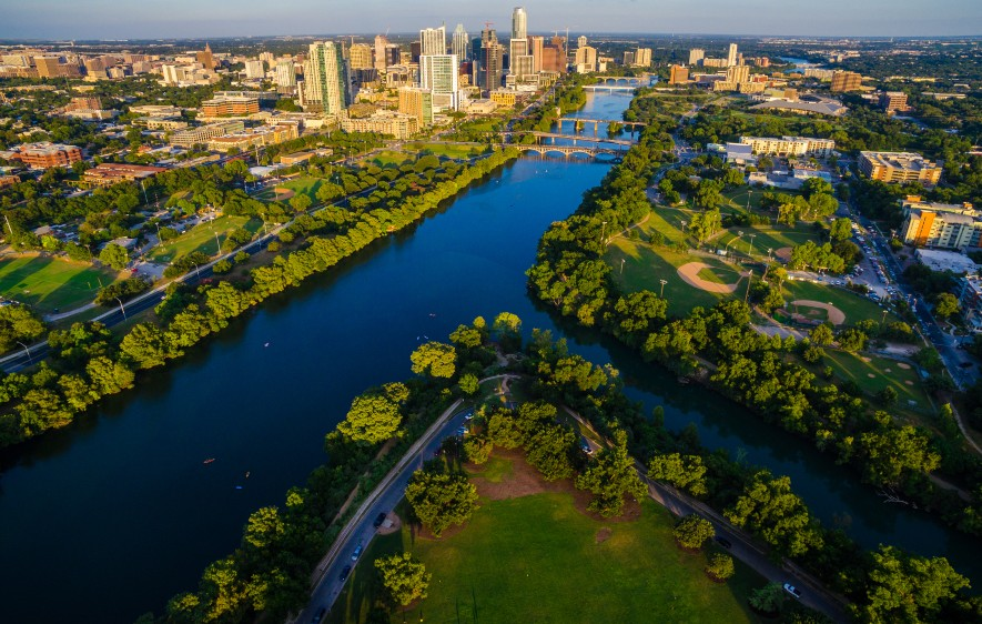 Aerial shot of Zilker Park and downtown Austin