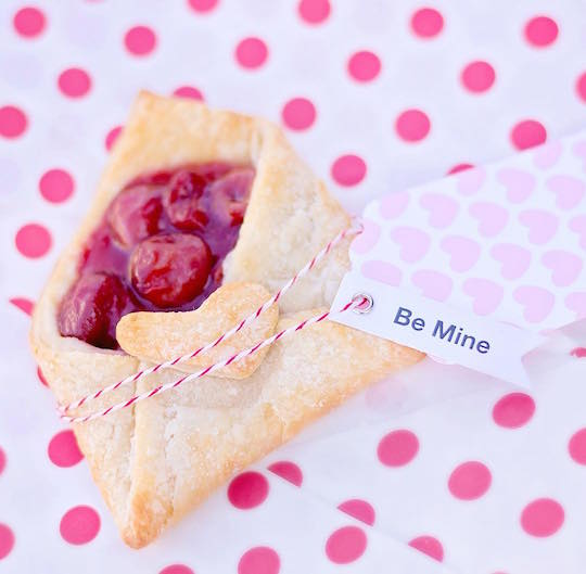 cherry love letter pie with be mine tag
