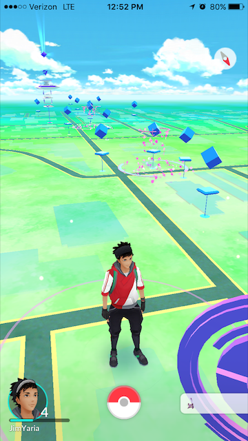 screenshot of mutiple pokestops dotting south congress