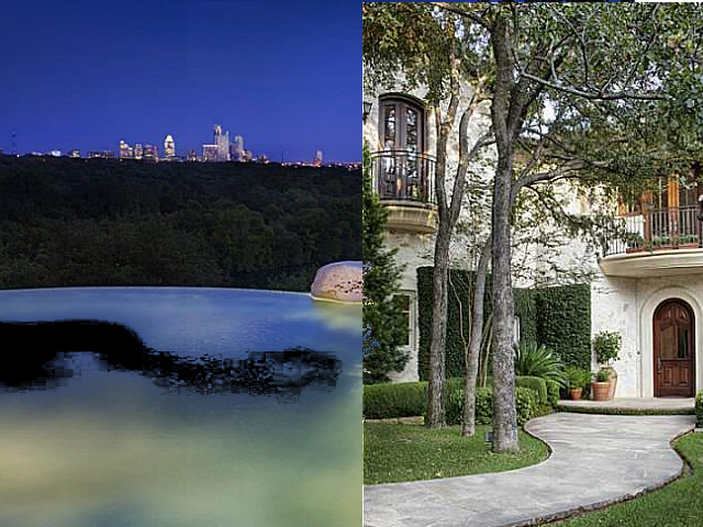 A diptych with an infinity pool looking at Austin skyline on left side and a small, densely wooded house on the right side