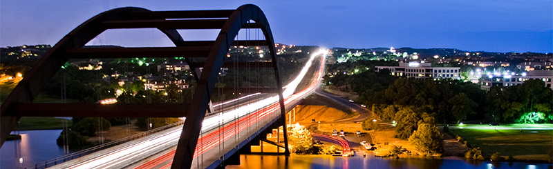 pennybacker bridge at night