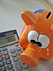 orange piggy bank and calculator